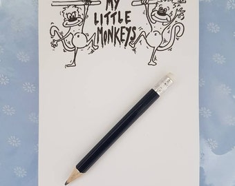 Little monkeys A6 notepad, monkey notepad, monkeys, mummy gift, mummy's day gift, notepad for mummys