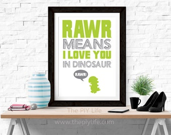 Home Decor | Rawr Means I love You in Dinosaur v2 Wall Art, Gift, Printed Art, Digital Art, Office, Free Shipping Black Friday Sale