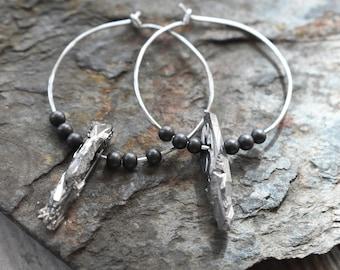 Aluminum Beaded Hoop Earrings- Crystal Dagger Earrings- Silver Faceted Gemstone Hematite- Silver Hammered Hoops- Metal Earrings