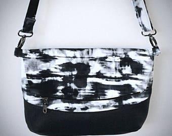 New!Artistic foldover freesia crossbody bag, black and white denim  pattern.