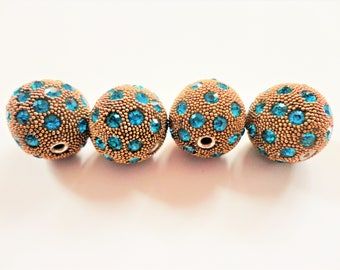 Textured & Rhinestone Beaded Round 18mm Bead 4 pcs