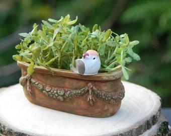 Miniature Planter Antiqued with Bird fairy garden dollhouse
