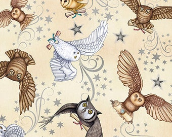Owl Fabric - Wizard Owls -Mail Carrier - Spellbound by Dan Morris for QT Fabrics 26612 E - Priced by the Half yard