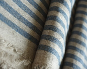 Pure  linen fabric with gray and blue stripes-natural fabric-ecofriendly-washed
