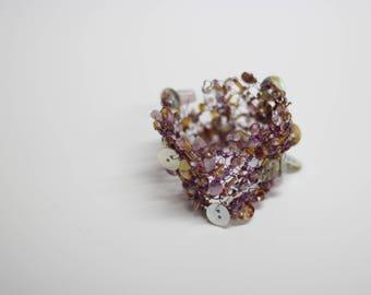 Women bracelet,handmade bracelet,metal jewelry,beaded bracelet,cuff bracelet,knitted bracelet,special event jewelry,beaded pink bracelet