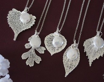 9 Bridesmaid Necklace Gifts, Leaf Necklaces, Pearl Necklace, Bridesmaid Necklaces, Silver Leaf, Real Leaf Necklace, Pendant, Bridal Gift