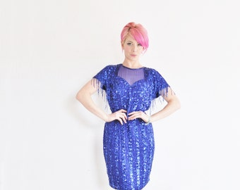 gem studded sequin trophy wife dress . beaded fringe and everything .medium .sale