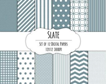 Slate Blue Gray Digital Scrapbook Paper 12x12 Pack - Set of 12 - Polka Dots, Chevron, Gingham - Instant Download - Item# 8054