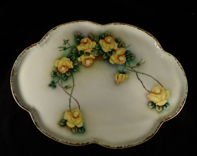 Antique-Porcelain Platter-Tray-Yellow Roses Serving Platter-M Z Austria painted by Edith Wright 1913 Platter-