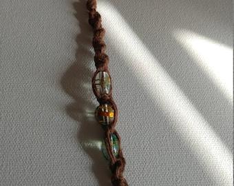 Brown hemp key chain with glass beads