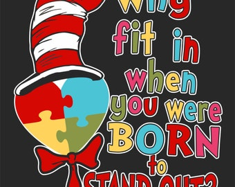 Dr. Suess Inspired Autism Heart Sticker