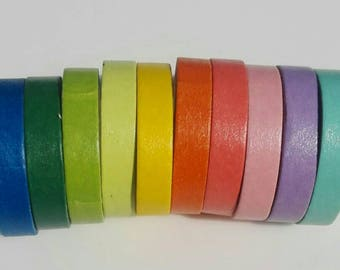 Set of 10 colored paper tapes - Rainbow- Washi Tape - Paper Crafts and Decorations (7mm x 5m)