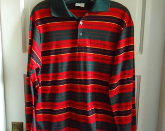 Vintage 70s Sears KINGS ROAD Multicolor Striped Rugby Shirt sz M
