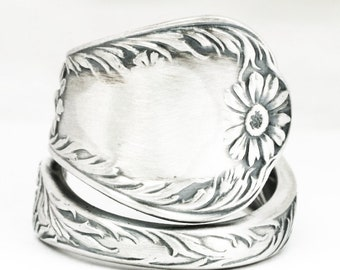 Daisy Ring, Sterling Silver Spoon Ring, Daisy Flower Spoon Ring, Gift for Her, Custom Ring Size, Antique Gorham Marguerite, 5th Wedding 7132
