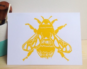Yellow Bee Lino Print Card. Bumblebee Print. Bee Notecard. Insect print. Blank greeting card.