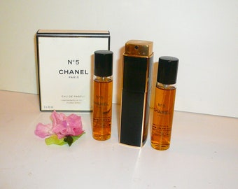 Vintage Chanel no. 5 Perfume Eau De Parfum Atomizer Purse Two Refills by VintageReinvented