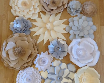 Weddings Large Paper Flowers Photo Backdrop Custom Colors Boutique Display Nursery Art Paper Flower Backdrop Home Decor