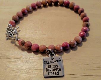 Rescued Is My Favorite Breed Bracelet, Rhodonite Bracelet, Pink Jewelry, Animal Rescue, Gemstone Bracelet, Women's Accessories