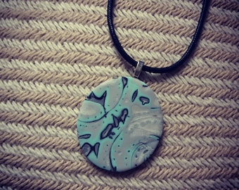 Wonderful and simple necklace from polymer clay, Unique necklace