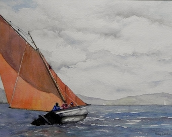 Galway Hooker on Lough Swilly, Co Donegal. Irish Art, Irish Watercolor, Traditional Boat Ireland.