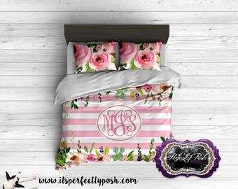 Floral Watercolor Bedding Custom Design and Personalized Comforter or Duvet with Monogram, Flowers in Watercolor Format