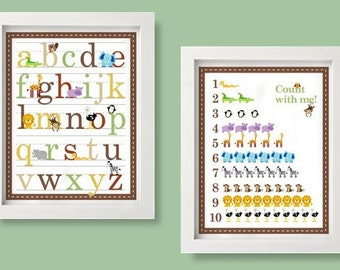 Safari Art Alphabet and Number Counting Posters - 11x14 -Safari Zoo Animals