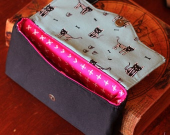 Fabric clutch 100% cotton with cute skeleton cats and mice pattern