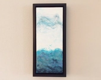 "Sea Spray; Original Encaustic Abstract Seascape; 8"" x 19 3/4"" painting in 10"" x 22"" x 1 3/4"" custom black frame"