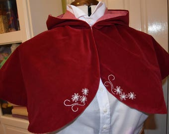 Red Velveteen Hooded Lolita Capelet