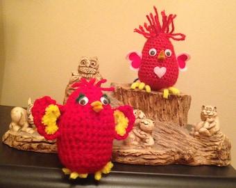 Handmade Crocheted Red Birds of Happiness Shelf Sitters