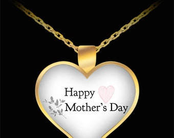 Happy mother's day leave heart necklace muttertag herz anhänger