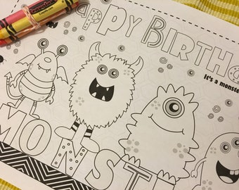 MONSTER-Kids activity placemat- Digital file only