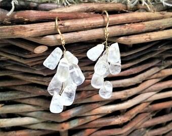 Quartz Chrystal Drop Cluster Earrings
