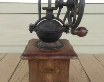 Vintage Antique Cast Iron Wood Coffee Grinder