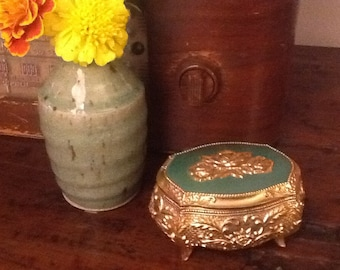 Vintage Footed Gold Tone Cast Metal Jewelry Box Made in Japan 1960s