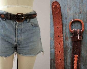 Vintage 70s Brown Leather Woven Boho Belt Small Medium