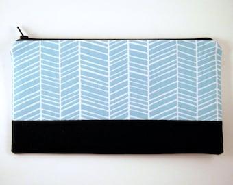 Color Block Blue Herringbone Zipper Pouch, Gadget Bag, Make Up Bag, Pencil Pouch