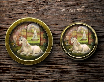 Unicorn / Retro Bronze Round Dresser Knobs / Cabinet Knobs / Furniture Knobs / Φ37mm / Φ32mm / 5 Colors Available