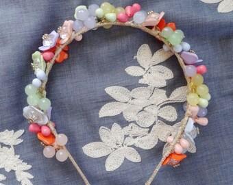 floral headband for women, womens headbands, headbands for adults, pastel flower headband, floral headpiece, pastel wedding hair accessories