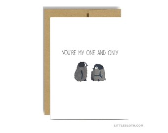 Penguin card - you are my one and only valentines day anniversary greeting card gray love