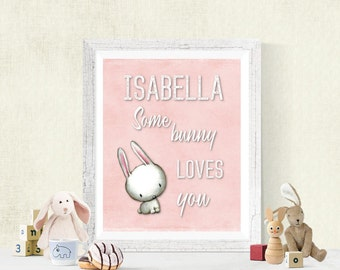 Personalized SomeBunny Loves You Nursery Digital Print, Baby Decor, Download, Boy's Room or Girl's Room Wall Art, Woodland Bunny, 8x10 #1