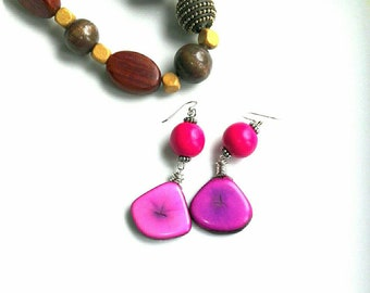 Tagua Nut Earrings. Sterling silver ear hooks. Pink Tagua beaded earrings