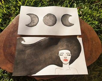 Celestial Dreams- Original Watercolor 2 Piece Set