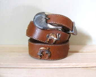 vintage belt leather southwestern 1980s brown silver novelty size small s medium m