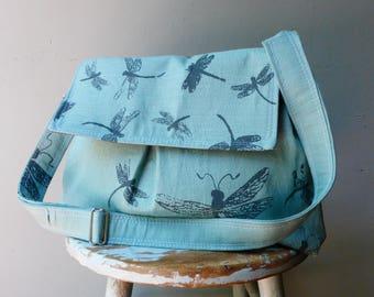 Robins Egg Blue Dragonfly Large Messenger Bag - Dragonflies - Adjustable Strap - 6 Pockets - Key Fob