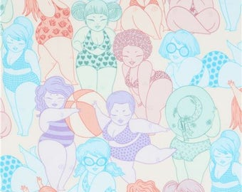 214357 cream Alexander Henry fabric women in swimsuits Bathing Beauties
