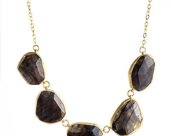 Irregular free form cut Big Labradorite Stones Necklace made with sterling silver coated in 18K gold vermeil, big statement necklace