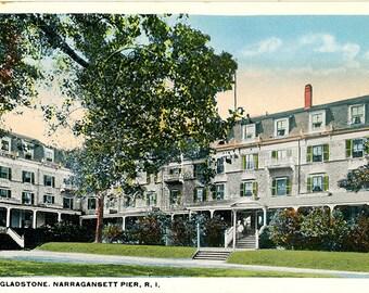 Narragansett Pier Rhode Island Hotel Gladstone Vintage  Postcard circa 1920s (unused)