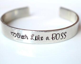 Cheerleader Jewelry - Cheerleading Gifts - Megaphone Jewelry - Handstamped Bracelet - Like A Boss - Cheerleader Bracelet