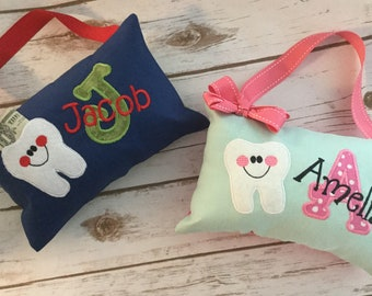 Personalized Tooth Fairy Pillow - embroidered applique - tooth pocket - door pillow